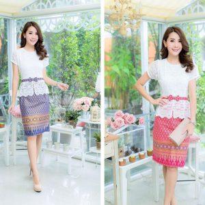 ชุดเดรสผ้าไทย