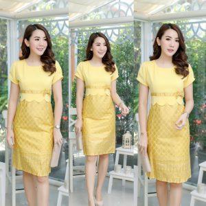 ชุดเดรสผ้าไทยพิมพ์ทอง