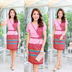 ชุดเดรสผ้าไทยพิมพ์ทอง ลายอลัง